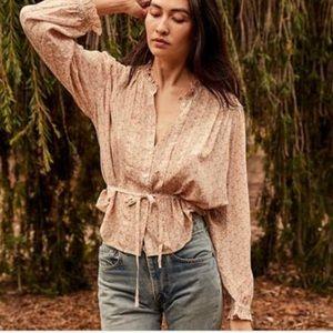 Doen Cezanne Peach Martha's Silk Blouse NWT
